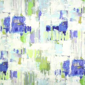 Aura - Indigo - Random abstract painted effects in cobalt blue, lime green and light grey on off-white fabric made from linen and cotton