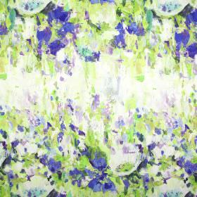 Flower Garden - Indigo - Linen and cotton combined into fabric with an abstract painted effect pattern in Royal blue, lime green, purple & w
