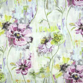Poppy - Vintage - Pink, purple, cream and green coloured watercolour effect linen and cotton blend fabric with a watercolour effect