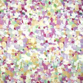 Raindrops - Vintage - An effect of painted dots in shades of pink, green and cream covering fabric which combines linen and cotton
