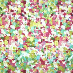 Raindrops - Venetian Red - Stucco paintbrush dot effect covering a linen-blend fabric in colours such as pink, green, white, olive and aqua