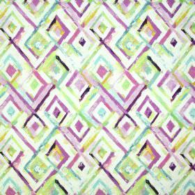 Jewel - Vintage - Fabric containing linen and cotton, patterned with roughly painted concentric diamonds in white, pink and green shades