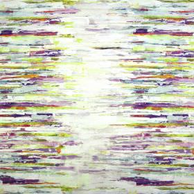 Reflections - Vintage - Off-white fabric containing linen and cotton as a background for multicoloured horizontal painted streaks in purple sh