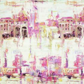 Duomo - Vintage - Watercolour effect buildings painted in light pink-grey shades on a crean coloured linen-cotton blend fabric background