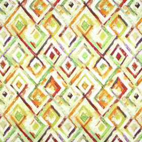 Jewel - Ochre - Orange, lime green, purple, red and white diamonds painted on fabric made with a 59% linen and 41% cotton content