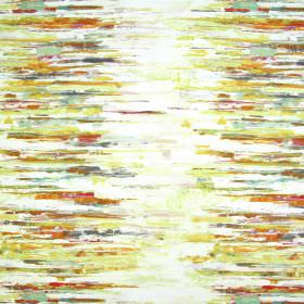 Reflections - Ochre - Horizontal streaks, mainly in oranges and yellows, painted roughly on a white linen and cotton blend fabric background