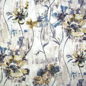 Poppy - Tabacco - Fabric containing linen and cotton in cream, with a watercolour effect floral pattern in shades of grey and cream-gold