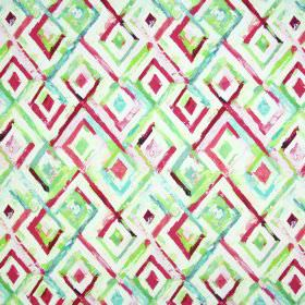 Jewel - Venetian Red - Roughly painted concentric diamond shapes in shades of pink, white and green on fabric made from linen and cotton