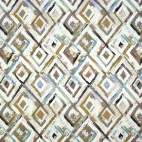 Jewel - Tabacco - Various shades of brown and cream making up a roughly painted diamond pattern on fabric containing linen and cotton