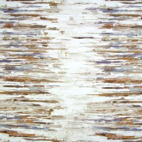 Reflections - Tabacco - Fabric made from linen & cotton with a horizontal streaked pattern with a painted effect in cream, brown & grey colo