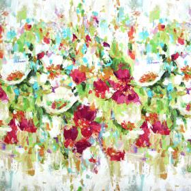 Flower Garden - Venetian Red - Off-white fabric made from both linen and cotton with an abstract painted effect pattern in pink and green sh