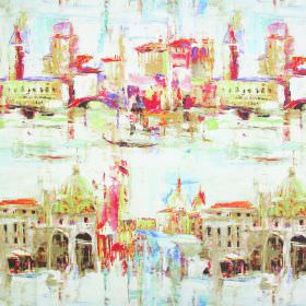 Duomo - Venetian Red - Beige buildings with lime green, orange and pink roofs with a watercolour effect on white linen-cotton blend fabric
