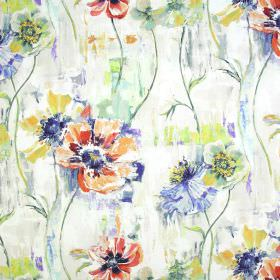 Poppy - Fresco - White fabric made from linen and cotton with watercolour effect floral patterns in bright orange, navy blue & lime green