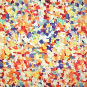 Raindrops - Fresco - Abstract patterned linen-cotton blend fabric with a painted effect in colours including orange, red, white, navy and crea