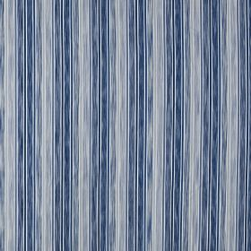 Loiret - Indigo - Vertically striped fabric made from 100% cotton with a patchily coloured design in various dusky blue & grey-blue shades