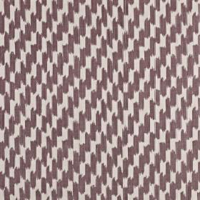 Paziols - Clover - Dusky purple and white coloured short, dashed brushstrokes creating a vertical pattern on 100% cotton fabric