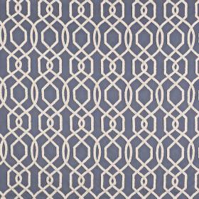 Bergerac - Indigo - Simple white lines creating an elegant geometric design on a navy blue polyester and cotton blend fabric background