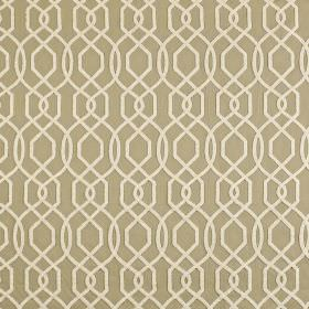 Bergerac - Parchment - Beige and ivory coloured polyester and cotton blend fabric featuring a geometric design made up of thin, simple lines
