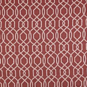 Bergerac - Paprika - Cherry coloured fabric made from polyester and cotton, with thin pinkish white lines in an elegant geometric design