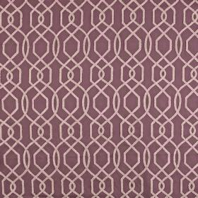 Bergerac - Clover - A white and dusky purple coloured geometric design made up of thin, simple lines covering polyester and cotton fabric