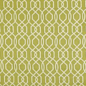 Bergerac - Pistachio - Fabric made from a lime green blend of polyester and cotton, with a geometric design made up of thin lines in white