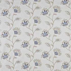 La Rochelle - Indigo - Floral patterned polyester and linen blend fabric, with a pretty, delicate pattern in light grey and classic blue sha