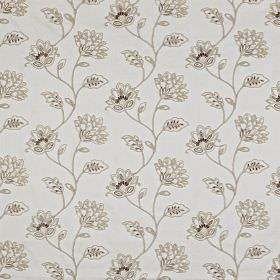 La Rochelle - Parchment - White and pale shades of grey making up a pretty, delicate floral pattern on polyeter and linen blend fabric