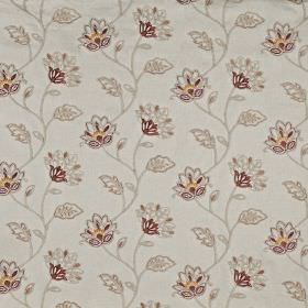 La Rochelle - Paprika - Polyester and linen blend fabric made in shades of grey, golden yellow and burgundy, featuring a delicate floral pat