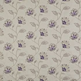 La Rochelle - Clover - Elegant, delicate floral patterns covering polyester and linen blend fabric in various light shades of grey and deep indi