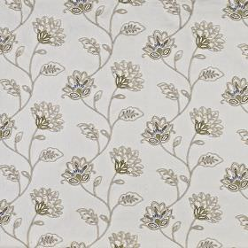 La Rochelle - Pistachio - Fabric made from polyester and linen in pale grey, with delicate floral patterns in light grey shades and khaki