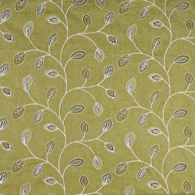 Marseille - Pistachio - Small patterned grey, brown and beige leaves curving over a muted gold polyester and linen blend fabric background