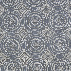 Montpellier - Indigo - Very detailed circular patterns creating a sophisticated white design on dusky blue polyester and cotton blend fabric