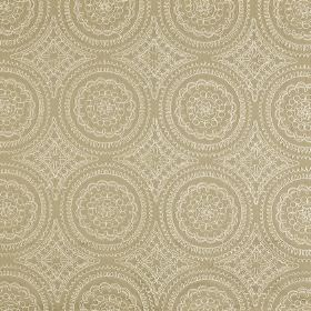 Montpellier - Parchment - An elegant combination of beige and ivory colours making up a detailed, patterned circle design on polyester-cotton