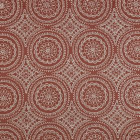 Montpellier - Paprika - Fabric made from dusky red polyester and cotton, with a light grey design of pretty, patterned, detailed circles