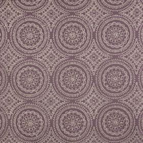 Montpellier - Clover - Polyester and cotton blend fabric made in two different shades of grey, featuring a detailed, aptterned circle design