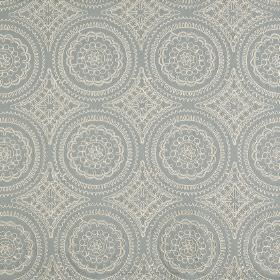 Montpellier - Azure - Two light shades of grey making up a very detailed, patterned circle design on fabric made from polyester and cotton