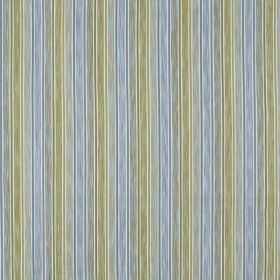 Loiret - Azure - 100% cotton fabric printed with a patchily coloured vertical stripe design in pale grey, apple green and light blue