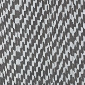 Paziols - Mocha - Fabric made from charcoal and white coloured 100% cotton, featuring a pattern of short, dashed, vertical brushstrokes