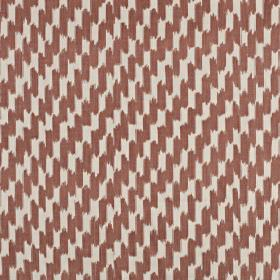 Paziols - Paprika - 100% cotton fabric made in white and dusky red, featuring a stylish pattern of short, dashed, vertical brushstrokes