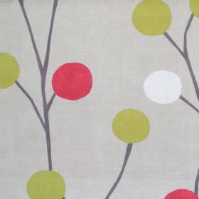 Broomfield - Cardinal - Grey cotton fabric with red and green circles in a modern plant style pattern