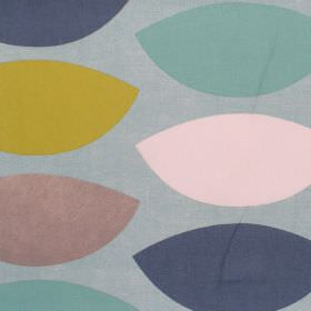 Penny Hill - Azure - Modern cotton fabric with blue and yellow shapes in a repeating pattern on a blue background