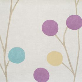 Broomfield - Lavender - Neutral cotton fabric with turquoise and pink dots forming a thin branch like tree pattern