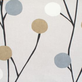 Broomfield - Linen - Neutral cotton fabric with black thin tree design and beige and grey circular blossom