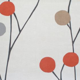 Broomfield - Spice - Grey cotton fabric with orange and brown circles in a modern plant style pattern