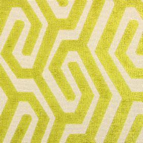Maddox - Evergreen - Lime green and cream coloured polyester, acrylic and viscose blend fabric patterned with a simple maze-like design