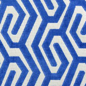 Maddox - Cobalt - A maze-like design created in white and bright Royal blue on fabric made from polyester, acrylic and viscose