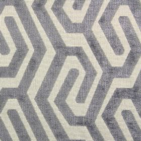 Maddox - Silver - Cream and grey coloured fabric made from polyester, acrylic and viscose featuring a simple maze-like pattern