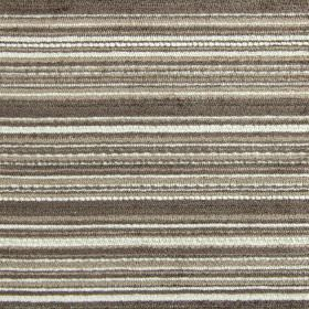 Enzo - Havana - Fabric made from horizontally striped polyester, acrylic and viscose in white and dark shades of brown