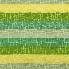Zander - Evergreen - Polyester, acrylic and viscose blend fabric striped in bright shades of green, covered with a crazy paving style patter