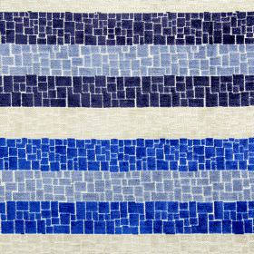 Zander - Cobalt - Crazy paving style patterns covering cream, navy, cobalt and bright blue stripes on fabric made from various materials